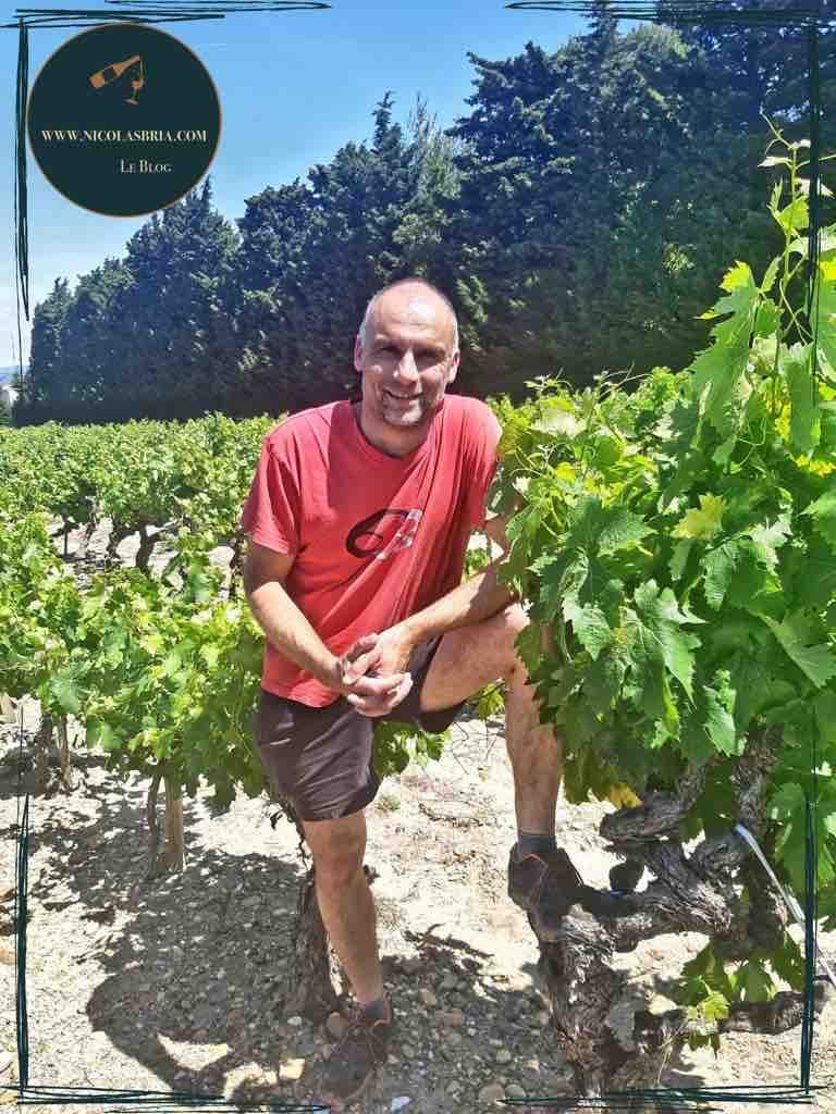 Xavier Anglès, vigneron du domaine le bois de St Jean. Iil est dans ses vignes, un pied sur un cep.