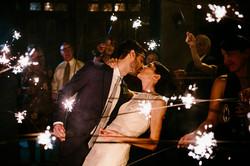 night time sparkler wedding portrait