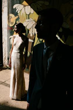 newlywed couple silhouette portrait