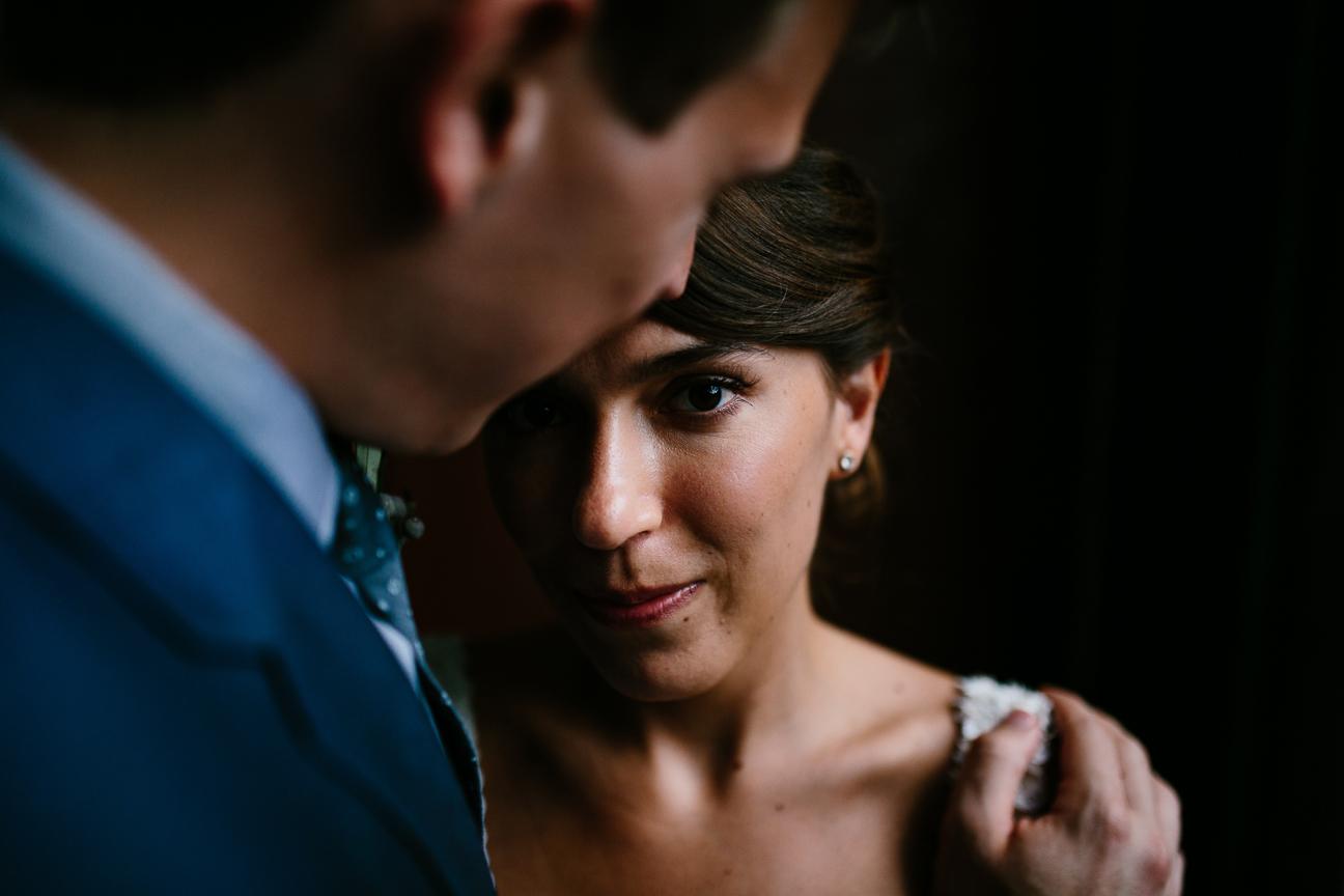 dim light portrait newlywed couple