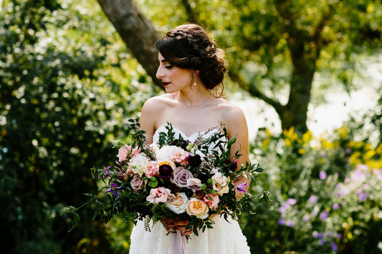 vibrant nature bridal portrait