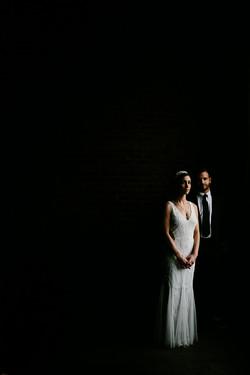 moody dark wedding portrait