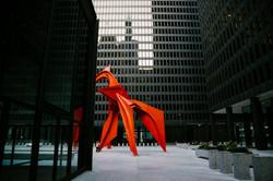 federal-plaza-calder-flamingo-evening-architectural-graphic-engagement-wedding-chicago-fine-art-phot