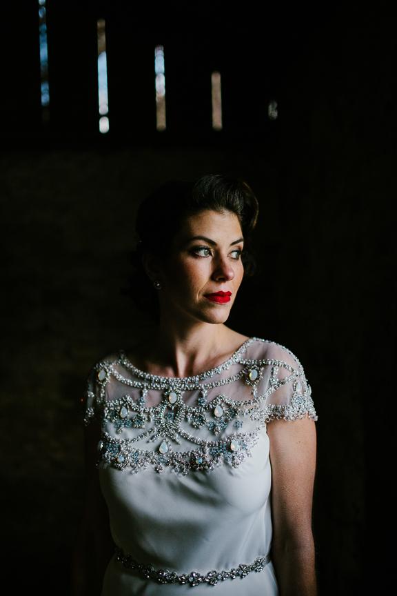 bridal portrait inside of a barn