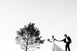 minimal portrait of a couple walking
