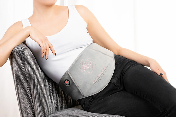 smart heated belly belt provides warmth to reliefe the pain