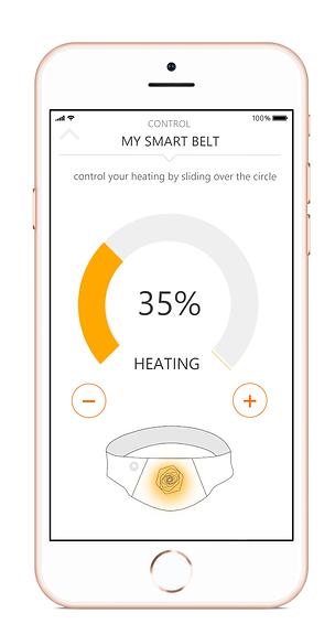 Smartphone belly belt app control screen