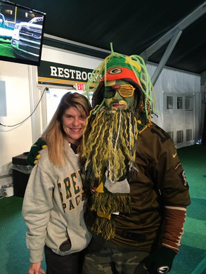 Blythe and a Packers fan