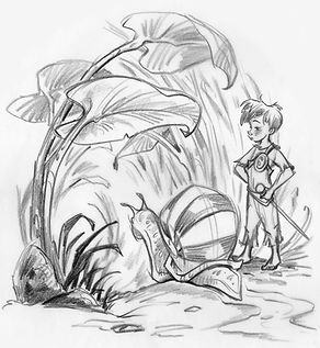 a boy and a snail in a nature environment