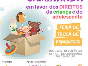 """Feira de troca de brinquedos e caminhada  fazem parte do evento """"Atitude Legal"""""""