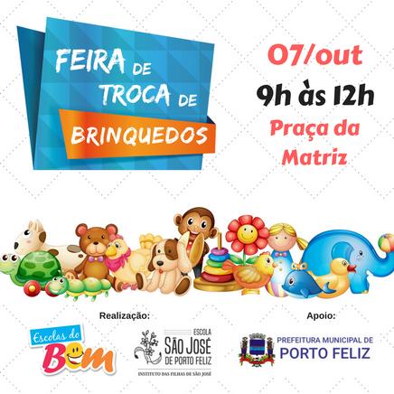 Porto Feliz terá Feira de Troca de Brinquedos na Praça da Matriz