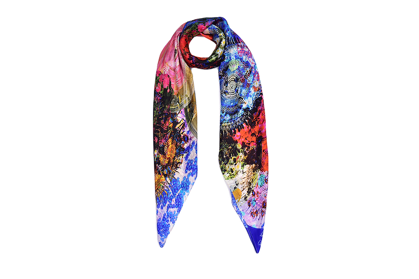 Blue Tigerlily Rectangle Scarf