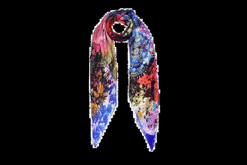 Tigerlily silk square scarf in green