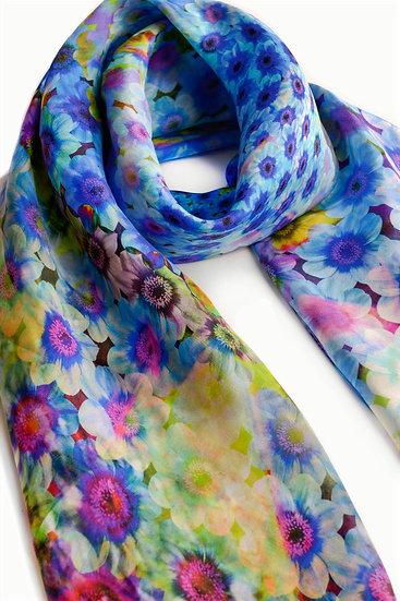 Flower Blue Silk Scarf