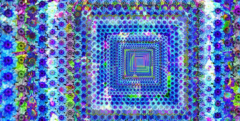 Hellebores Blue Rectangle Scarf
