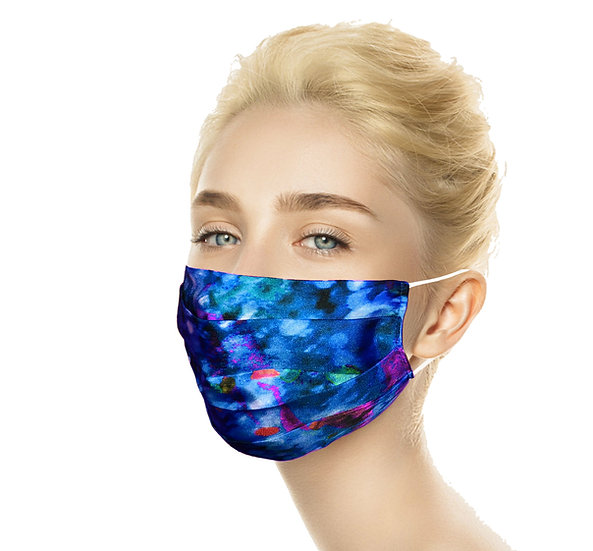 Blue Silk Reusable Silk Mask