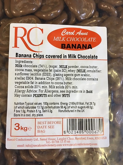 Milk Chocolate Bananas (x250gr)-£1.99