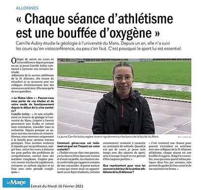 JSA Athlétisme - Camille Aubry - 16.02.2