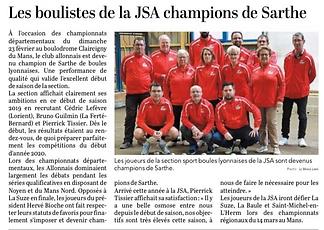 JSA Sport Boules - Champion de Sarthe -