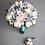 Свадебный букет в голубом и розовом оттенке