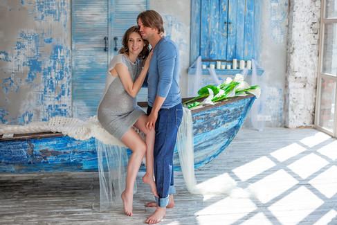 зимняя фотосессия беременной с мужем