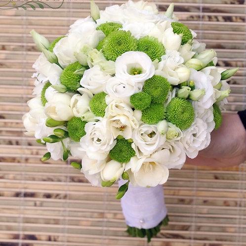 Бело-зеленый букет невесты