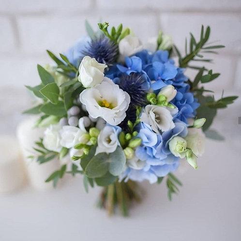Голубой букет невесты