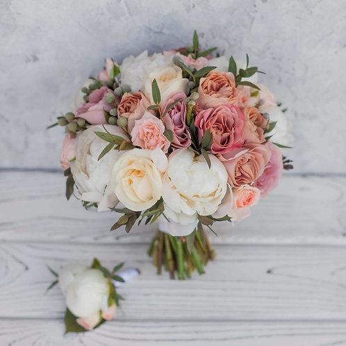 букет невесты в теплой гамме