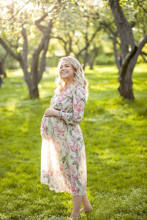 фотосессия беременной с детьми на природе