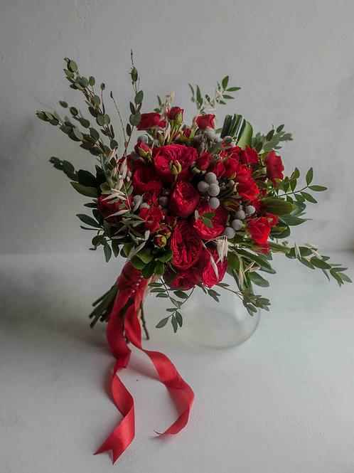 Букет невесты марсала из пионовидных роз Ред Пиано