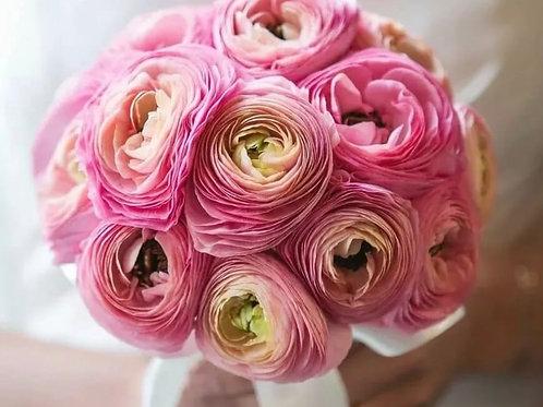 Свадебный букет из розовых ранункулюсов
