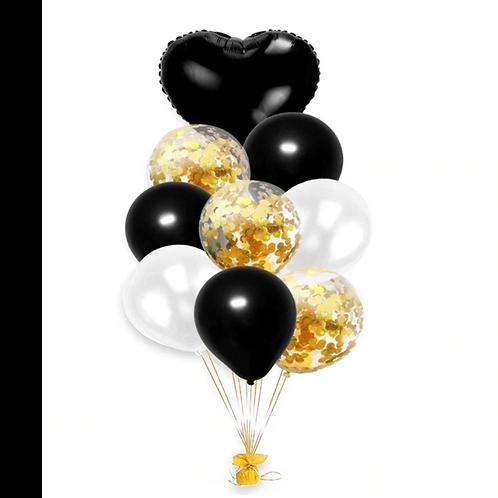 связка черно-золотых шаров