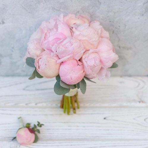 Букет невесты из розовых пионов 15 шт