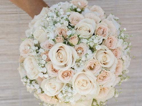 Бежево-розовый букет невесты