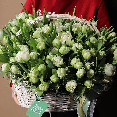 Цветочная корзина с тюльпанами