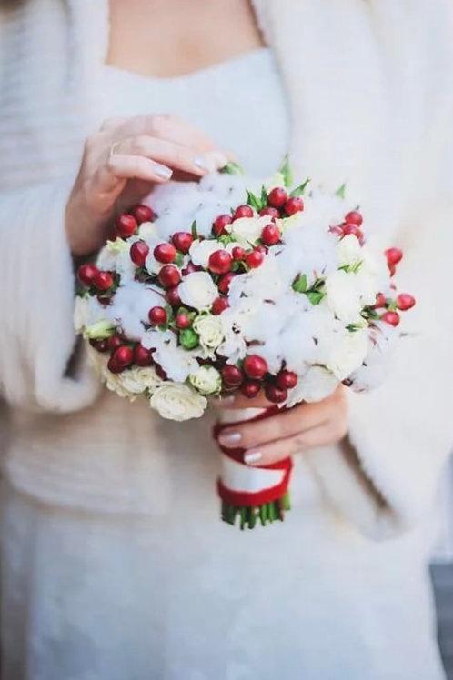 Свадебный букет невесты из хлопка