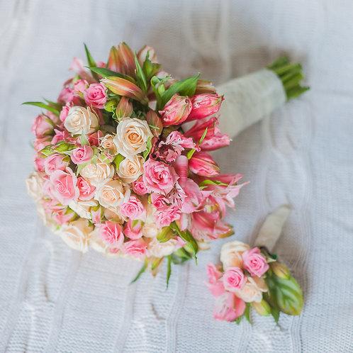 букет свадьба с маленькими розами