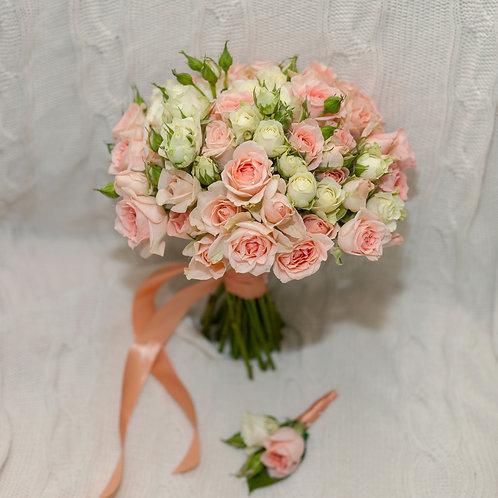 свадебный букет персиковый
