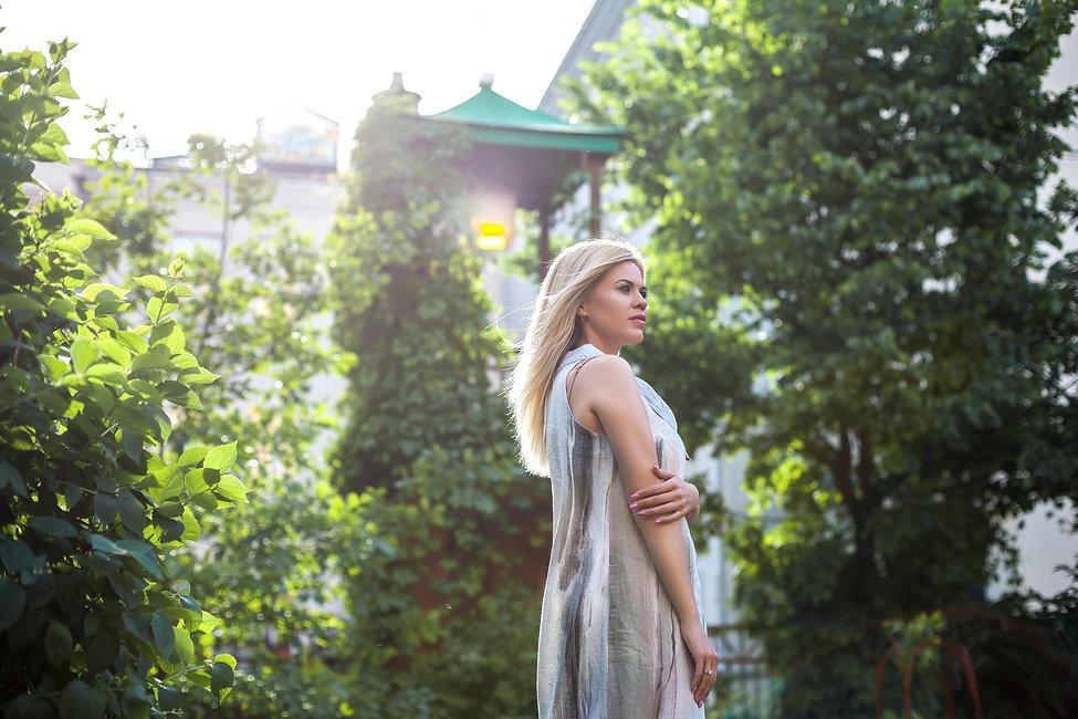 фотосессия в платье на улице летом