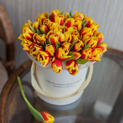 Желто красные тюльпаны в шляпной коробке