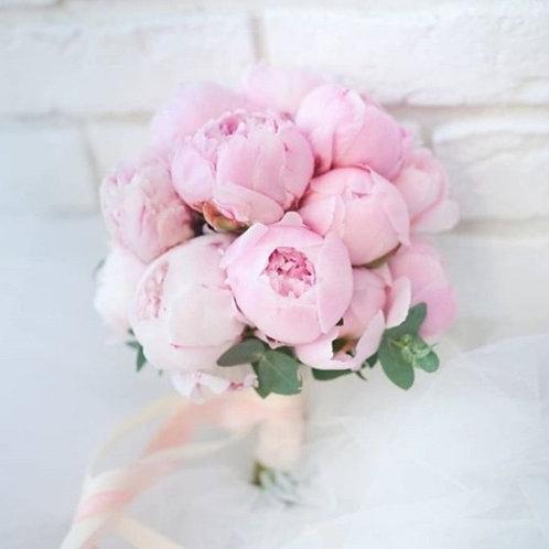 Букет невесты из розовых пионов 11 шт