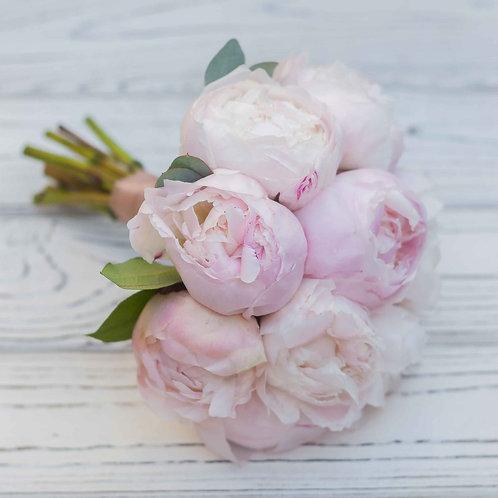 свадебный букет розовые пионы