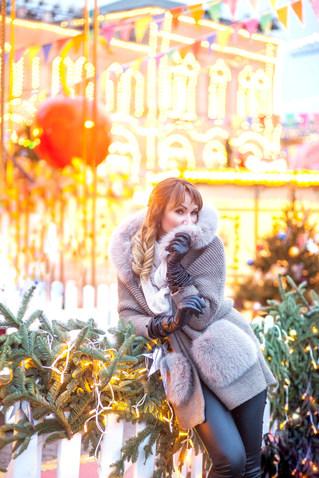 женская фотосессия на улице зимой