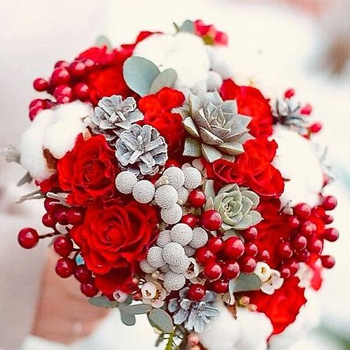 Зимний свадебный букет невесты с хлопком