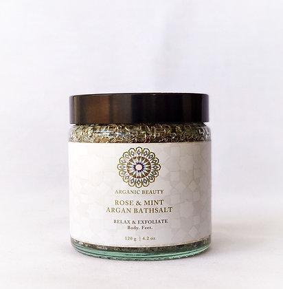 120g Rose & Mint Argan Bath Salt