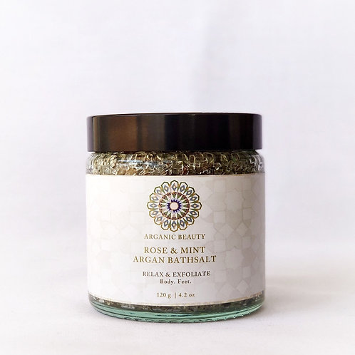 120g Rose & Mint Argan Bath Salt