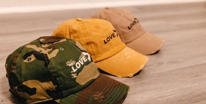 "Classic ""LOVE>hate"" hats"