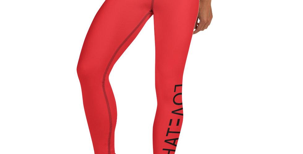 LOV3TAH All-Over Print Yoga Leggings Red