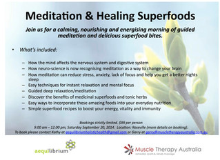Meditation and nutrition workshop