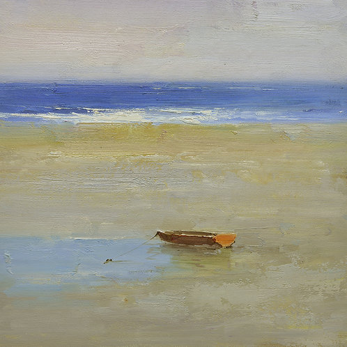 16x16 oil painting on canvas of red boat on beach 22010517
